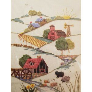 Country Hills Stitchery Embroidery Kit Farm Mill